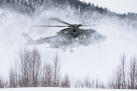 British Merlin helicopter practice in the Arctic,  near Bardufoss, Norway. Coming in to land the snow creates a total white out and challenging landing for the pilots.<br /> <br /> 845 Naval Air Squadron is a squadron of the Royal Navy's Fleet Air Arm. Part of the Commando Helicopter Force, it is a specialist amphibious unit operating the Leonardo Commando Merlin Mk3 helicopter and provides troop transport and load lifting support to 3 Commando Brigade Royal Marines.<br /> <br /> ©Fredrik Naumann/Felix Features