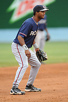 Rome Braves Edward Salcedo #1 awaits a play during  a game against  the Asheville Tourists at McCormick Field in Asheville,  North Carolina;  May 18, 2011. The Braves won the game 8-7.  Photo By Tony Farlow/Four Seam Images