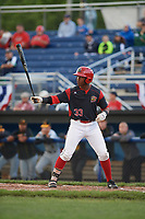 Batavia Muckdogs designated hitter Terry Bennett (33) at bat during a game against the West Virginia Black Bears on June 24, 2017 at Dwyer Stadium in Batavia, New York.  The game was suspended in the bottom of the third inning and completed on June 25th with West Virginia defeating Batavia 6-4.  (Mike Janes/Four Seam Images)