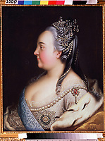 Portrait of Empress Elizabeth of Russia (1709-1762) with Pearles<br /> Artist: Buchholz, Heinrich (1735-1780)<br /> Museum: State V.Tropinin-Museum, Moscow<br /> Method: Oil on canvas<br /> Created: c.1768<br /> School: Germany<br /> Trend in art: Rococo