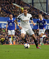 Pictured: Michu of Swansea. Saturday 22 March 2014<br /> Re: Barclay's Premier League, Everton v Swansea City FC at Goodison Park, Liverpool, UK.