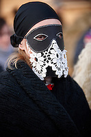 Women with masks  on the Sunday procession of the Busojaras Spring  festival 2010 Mohacs Hungary - Stock photos