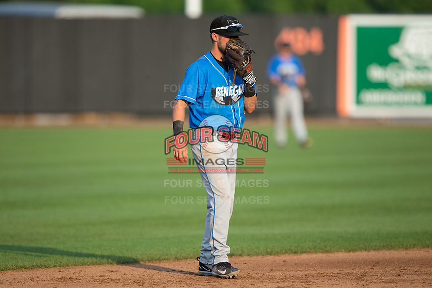 Hudson Valley Renegades shortstop Deion Tansel (9) on defense against the Aberdeen IronBirds at Leidos Field at Ripken Stadium on July 27, 2017 in Aberdeen, Maryland.  The Renegades defeated the IronBirds 2-0 in game one of a double-header.  (Brian Westerholt/Four Seam Images)