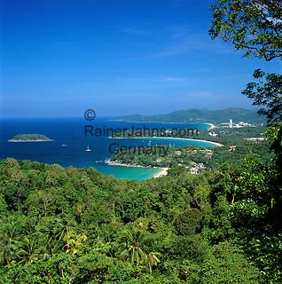 Thailand, Phuket, View over Kata Noi, Kata and Karon beaches on south west of island | Thailand, Phuket, Kata Noi, Kata und Karon Beaches im Suedwesten der Insel