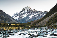 Dawn on highest mountain in New Zealand, Aoraki Mt. Cook 3724m, and Hooker River in foreground, Aoraki Mt. Cook National Park, Mackenzie Country, UNESCO World Heritage Area, New Zealand, NZ