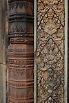 Angkorian temple Banteay Srei (late 10th century) 967.<br /> East Gopura IV. Door frame (detail) <br /> Banteay Srei temple is situated 20km north of Angkor, built during the reign of Rajendravarman by Yajnavaraha, one of his counsellors. In antiquity Isvarapura was a small city that grew up around the temple. Banteay Srei was dedicated to the worship of Shiva, the foundation stele describes the consecration of the linga Tribhuvanamahesvara (Lord of the three worlds) in 967.