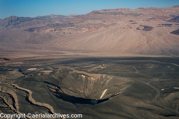 aerial photograph of Ubehebe Crater,  Death Valley National Park, northern Mojave Desert, California