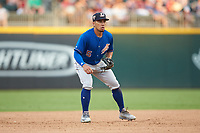 Durham Bulls third baseman Kean Wong (5) on defense against the Charlotte Knights at BB&T BallPark on July 4, 2018 in Charlotte, North Carolina. The Knights defeated the Bulls 4-2.  (Brian Westerholt/Four Seam Images)