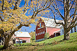 A red barn at the Pomfret Highlands farm in Pomfret, VT, USA