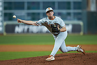 Texas Longhorns relief pitcher Dawson Merryman (42) delivers a pitch to the plate against the LSU Tigers in game three of the 2020 Shriners Hospitals for Children College Classic at Minute Maid Park on February 28, 2020 in Houston, Texas. The Tigers defeated the Longhorns 4-3. (Brian Westerholt/Four Seam Images)