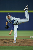 Columbia Fireflies relief pitcher Walter Pennington (19) in action against the Kannapolis Cannon Ballers at Atrium Health Ballpark on May 18, 2021 in Kannapolis, North Carolina. (Brian Westerholt/Four Seam Images)