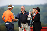 ISPS Handa Wales Open Golf final day at the Celtic Manor Resort in Newport, UK. :  Sir Terry Matthews (owner of the Celtic Manor Resort) congratulates Dutch golfer Joost Luiten after he won the Wales Open Golf tournament this afternoon.