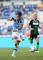 Football, Serie A: S.S. Lazio - Sassuolo, Olympic stadium, Rome, July 11, 2020. <br /> Lazio's Ciro Immobile in action during the Italian Serie A football match between S.S. Lazio and Sassuolo at Rome's Olympic stadium, Rome, on July 11, 2020. <br /> UPDATE IMAGES PRESS/Isabella Bonotto