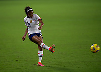 ORLANDO CITY, FL - FEBRUARY 18: Margaret Purce #20 passes the ball during a game between Canada and USWNT at Exploria stadium on February 18, 2021 in Orlando City, Florida.