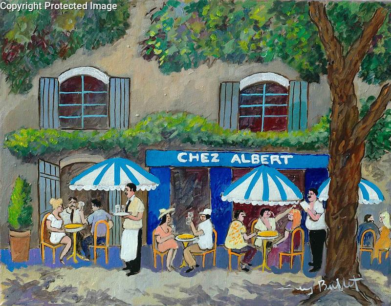 """Chez Albert""<br /> ORIGINAL Acrylic on Box Canvas<br /> 11x14<br /> $5,500"
