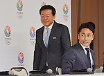 September 10, 2013, Tokyo, Japan - Gov. Naoki Inose, left, of Tokyo arrives for a news conference at the City Hall Tuesday night, September 10, 2013, upon his triumphant return to the nation's capital from Buenos Aires, Argentina, after winning its bid to host the summer Olympics in 2020. (Photo by Natsuki Sakai/AFLO)
