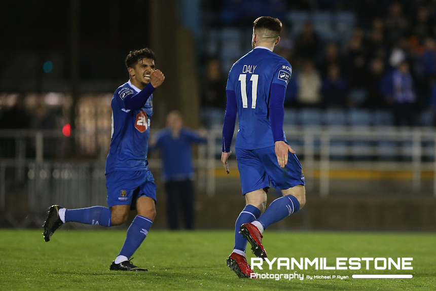 Derek Daly celebrates after scoring a goal with Faysel Kasmi during the SSE Airtricity League Premier Division game between Waterford FC and Bray Wanderers on Friday 20th April 2018 at The RSC, Waterford. Photo By Michael P Ryan