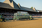 SARATOGA SPRINGS - AUGUST 27: A general view of the starting gate on the track on Travers Stakes Day at Saratoga Race Course on August 27, 2016 in Saratoga Springs, New York. (Photo by Dan Heary/Eclipse Sportswire/Getty Images)