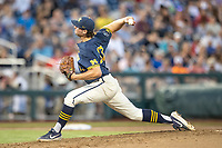 Michigan Wolverines pitcher Jeff Criswell (17) delivers a pitch to the plate against the Vanderbilt Commodores during Game 3 of the NCAA College World Series Finals on June 26, 2019 at TD Ameritrade Park in Omaha, Nebraska. Vanderbilt defeated Michigan 8-2 to win the National Championship. (Andrew Woolley/Four Seam Images)