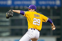 LSU Tigers pitcher Jake Godfrey (29) delivers a pitch to the plate during the Houston College Classic against the Nebraska Cornhuskers on March 8, 2015 at Minute Maid Park in Houston, Texas. LSU defeated Nebraska 4-2. (Andrew Woolley/Four Seam Images)