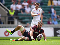 4th July 2021; Twickenham, London, England; International Rugby, Autumn Internationals, England versus United States of America; Cam Dolan of USA scores a try after charging down a kick from Harry Randall of England