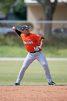 Miami Marlins Isan Diaz (21) during a Minor League Spring Training Intrasquad game on March 27, 2018 at the Roger Dean Stadium Complex in Jupiter, Florida.  (Mike Janes/Four Seam Images)