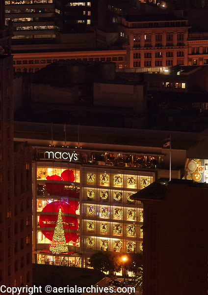 Nighttime aerial view of Macy's Department Store, Union Square, San Francisco, California at Christmas time.