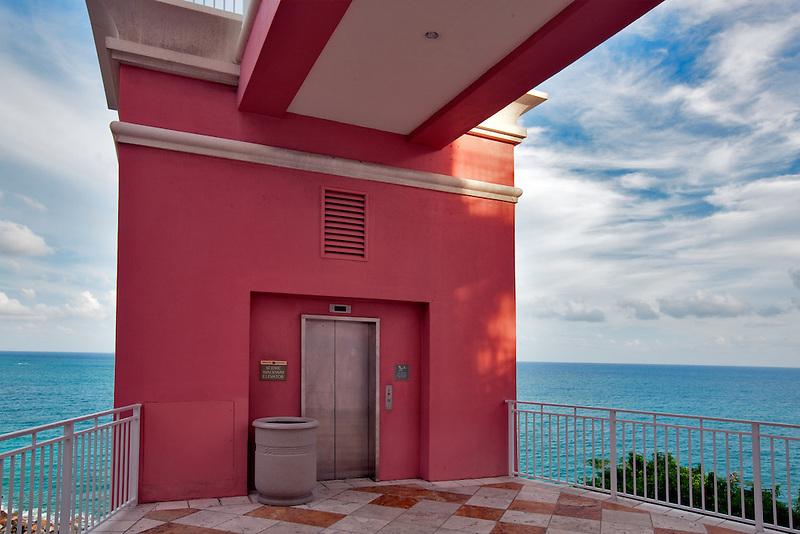 Outside elevator at Marriot Hotel. St. Thomas. US Virgin Islands
