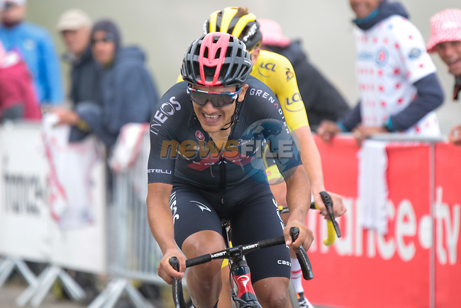 Richard Carapaz (ECU) Ineos Grenadiers and Yellow Jersey Tadej Pogacar (SLO) UAE Team Emirates slug it out for stage honours as they climb Col du Portet during Stage 17 of the 2021 Tour de France, running 178.4km from Muret to Saint-Lary-Soulan Col du Portet, France. 14th July 2021.  <br /> Picture: Colin Flockton   Cyclefile<br /> <br /> All photos usage must carry mandatory copyright credit (© Cyclefile   Colin Flockton)