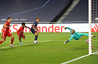 23rd August 2020, Estádio da Luz, Lison, Portugal; UEFA Champions League final, Paris St Germain versus Bayern Munich; The goal scored for 1-0 by Kingsley Coman (Munich) past Thilo Kehrer (PSG)