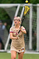 NEWTON, MA - MAY 16: Caitlynn Mossman #7 of Boston College passes the ball during NCAA Division I Women's Lacrosse Tournament second round game between Temple University and Boston College at Newton Campus Lacrosse Field on May 16, 2021 in Newton, Massachusetts.
