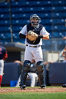 Staten Island Yankees catcher Jackson Thoreson (35) looks into the dugout during a game against the Lowell Spinners on August 22, 2018 at Richmond County Bank Ballpark in Staten Island, New York.  Staten Island defeated Lowell 10-4.  (Mike Janes/Four Seam Images)