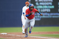 Gift Ngoepe (11) of the Buffalo Bison takes off for home plate during the game against the Durham Bulls at Durham Bulls Athletic Park on April 25, 2018 in Allentown, Pennsylvania.  The Bison defeated the Bulls 5-2.  (Brian Westerholt/Four Seam Images)