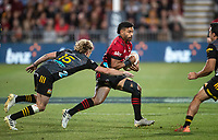 Richie Mo'unga in action during the 2021 Super Rugby Aotearoa final between the Crusaders and Chiefs at Orangetheory Stadium in Christchurch, New Zealand on Saturday, 8 May 2021. Photo: Joe Johnson / lintottphoto.co.nz