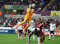 Pictured: England goalkeeper Jack Butland grabs the ball from a Wales cross. Monday 19 May 2014<br />