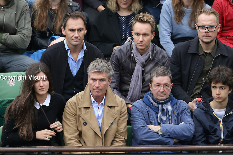 Cyril Feraud, Philippe Caroit and Frederic Bouraly watching tennis during Roland Garros tennis open 2016 on may 29 2016.