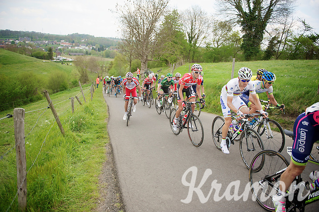 Jelle Vanendert (BEL/Lotto-Belisol) behind world champion Rui Costa (POR/Lampre) up the 'steepest climb' in Holland: Keutenberg (max 22%)<br /> <br /> Amstel Gold Race 2014