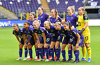Anderlecht players with Noemie Gelders, Britt Vanhamel , Tessa Wullaert , Michelle Colson , Justien Odeurs , Jenna Van De Keere , Mariam Abdulai Toloba , Charlotte Tison , Sarah Wijnants , Laura Deloose and Stefanie Vatafu pictured posing for the teampicture during a female soccer game between RSC Anderlecht Dames and Sporting Charleroi  on the second matchday of the 2021 - 2022 season of Belgian Womens Super League , saturday 28 th of August 2021  in Brussels , Belgium . PHOTO SPORTPIX   DAVID CATRY