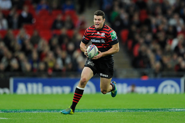 20131018 Copyright onEdition 2013©<br /> Free for editorial use image, please credit: onEdition<br /> <br /> Duncan Taylor of Saracens during the Heineken Cup match between Saracens and Stade Toulousain at Wembley Stadium on Friday 18th October 2013 (Photo by Rob Munro)<br /> <br /> For press contacts contact: Sam Feasey at brandRapport on M: +44 (0)7717 757114 E: SFeasey@brand-rapport.com<br /> <br /> If you require a higher resolution image or you have any other onEdition photographic enquiries, please contact onEdition on 0845 900 2 900 or email info@onEdition.com<br /> This image is copyright onEdition 2013©.<br /> This image has been supplied by onEdition and must be credited onEdition. The author is asserting his full Moral rights in relation to the publication of this image. Rights for onward transmission of any image or file is not granted or implied. Changing or deleting Copyright information is illegal as specified in the Copyright, Design and Patents Act 1988. If you are in any way unsure of your right to publish this image please contact onEdition on 0845 900 2 900 or email info@onEdition.com