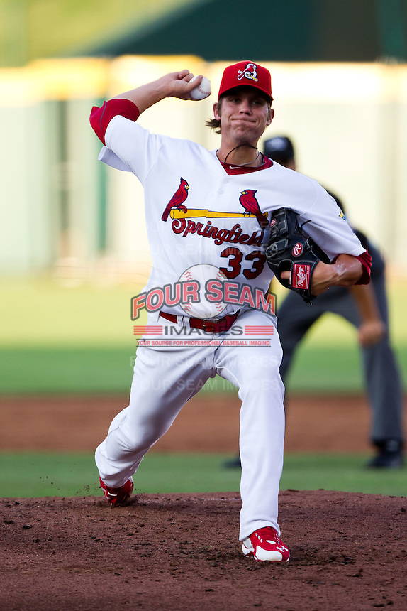 Michael Blazek (33) of the Springfield Cardinals delivers a pitch during a game against the Tulsa Drillers at Hammons Field on July 19, 2011 in Springfield, Missouri. Tulsa defeated Springfield 17-11. (David Welker / Four Seam Images)