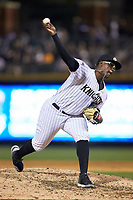 Charlotte Knights relief pitcher Thyago Vieira (24) in action against the Scranton/Wilkes-Barre RailRiders at BB&T BallPark on April 12, 2018 in Charlotte, North Carolina.  The RailRiders defeated the Knights 11-1.  (Brian Westerholt/Four Seam Images)