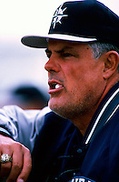 Seattle Mariners Manager Lou Piniella plays in a baseball game at Edison International Field during the 1998 season in Anaheim, California. (Larry Goren/Four Seam Images)