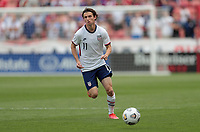SANDY, UT - JUNE 10: Brenden Aaronson #11 of the United States chases down a loose ball during a game between Costa Rica and USMNT at Rio Tinto Stadium on June 10, 2021 in Sandy, Utah.