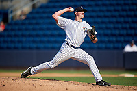 Staten Island Yankees relief pitcher Brooks Kriske (33) delivers a pitch during a game against the Lowell Spinners on August 22, 2018 at Richmond County Bank Ballpark in Staten Island, New York.  Staten Island defeated Lowell 10-4.  (Mike Janes/Four Seam Images)
