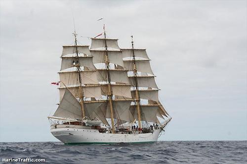 Tall ship Danmark is anchored into Dublin Bay
