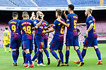 Sergio Busquets Burgos of FC Barcelona (R2) celebrates after scoring his goal with his teammates during the La Liga 2017-18 match between FC Barcelona and Las Palmas at Camp Nou on 01 October 2017 in Barcelona, Spain. (Photo by Vicens Gimenez / Power Sport Images