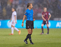 EAST HARTFORD, CT - JULY 1: Referee Katja Koroleva watches the field during a game between Mexico and USWNT at Rentschler Field on July 1, 2021 in East Hartford, Connecticut.