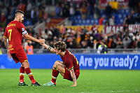 Calcio, Serie A: AS Roma vs SSC Napoli, Olympic stadium, October 24, 2021.<br /> Roma's captain Lorenzo Pellegrini (L) and Nicolo' Zaniolo   (R) at the end of the Italian Serie A football match between Roma and Napoli at Rome's Olympic stadium, on , October 24, 2021. <br /> UPDATE IMAGES PRESS/Isabella Bonotto