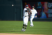 Wake Forest Demon Deacons second baseman Patrick Frick (5) makes a throw to first base against the Furman Paladins at BB&T BallPark on March 2, 2019 in Charlotte, North Carolina. The Demon Deacons defeated the Paladins 13-7. (Brian Westerholt/Four Seam Images)
