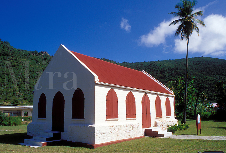 church, Jost Van Dyke, British Virgin Islands, Caribbean, BVI, Methodist Church with red roof and red shingles on Jost Van Dyke Island.